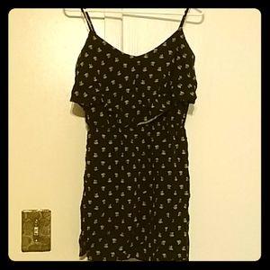 Black and white rose print dress